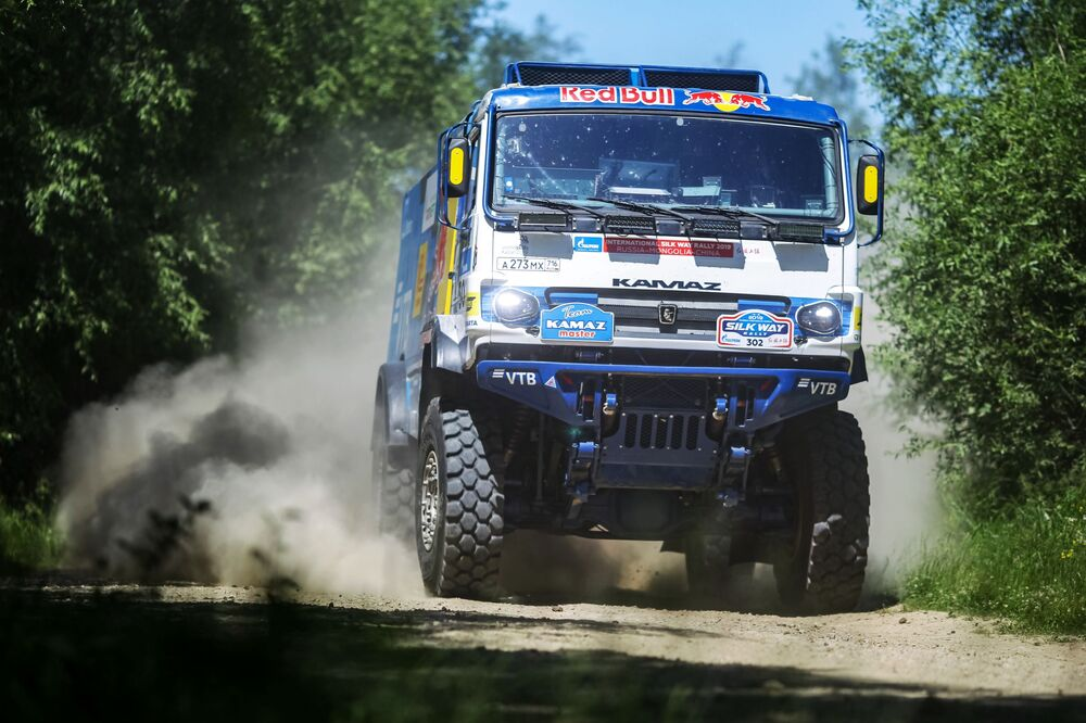 A truck piloted by a participant of the Silk Way Rally during its leg in Russia's Irkutsk region.