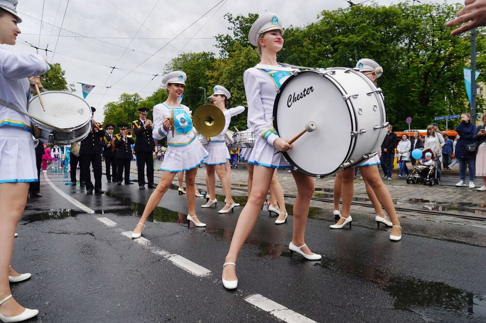 Female drummers perform during the City Day celebrations in Russia's Kaliningrad.