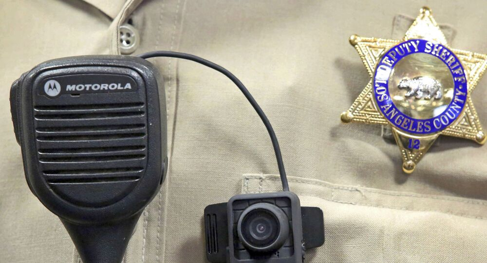 This Sept. 22, 2014 file photo shows a body camera on the uniform of a Los Angeles County Sheriff's deputy at department headquarters in Monterey Park, Calif.