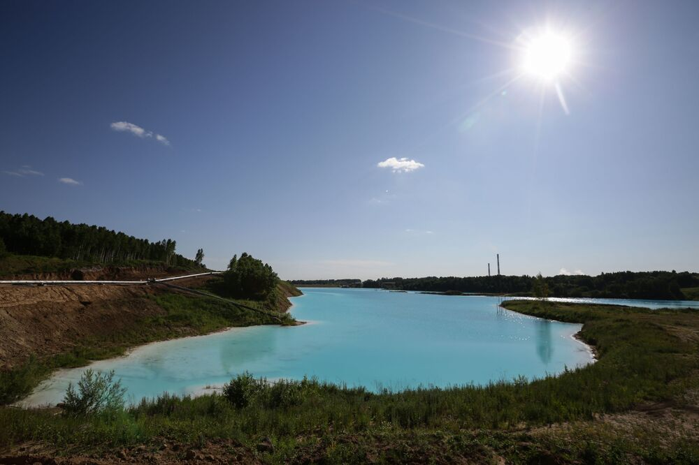 A view of a lake near an energy plant's ash dump site in Novosibirsk.