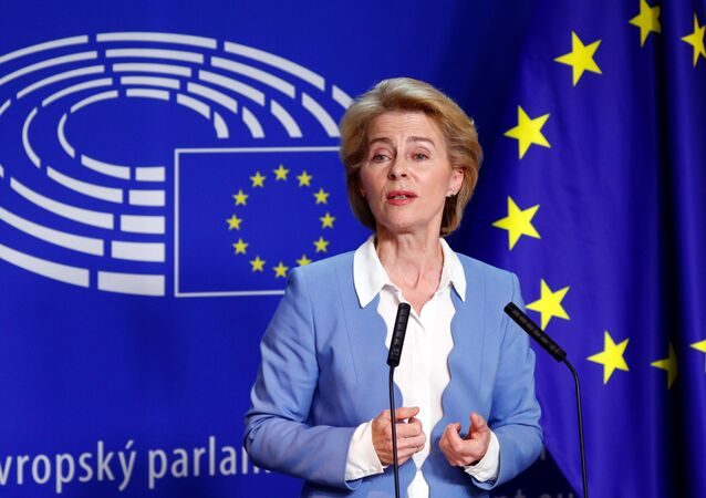 German Defense Minister Ursula von der Leyen, who has been nominated as European Commission President, briefs the media after the Conference of Presidents of European Parliament's party blocs in Brussels, Belgium, July 10, 2019