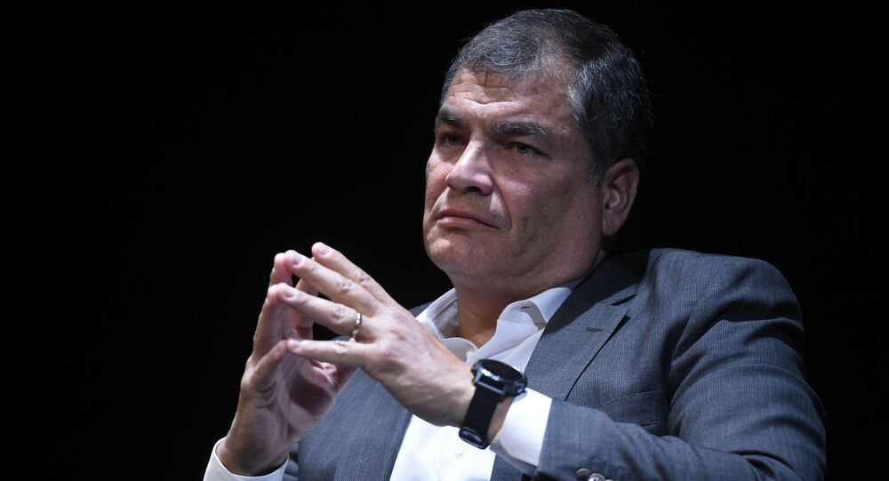 Former Ecuadorian President Rafael Correa attends to a meeting on power and checks and balance at the national theater in Brussels on October 22, 2018