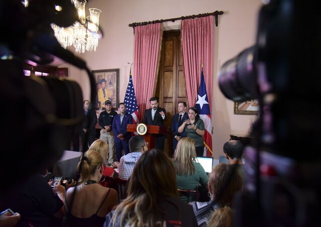 Puerto Rico Gov. Ricardo Rossello speaks during a press conference in La Fortaleza's Tea Room, in San Juan, Puerto Rico