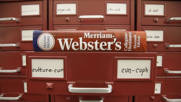 In this Tuesday, Dec. 9, 2014 photo, a Merriam-Webster dictionary sits atop their citation files for the 2014 word of the year, culture, at the dictionary publisher's offices in Springfield, Mass. - Sputnik International