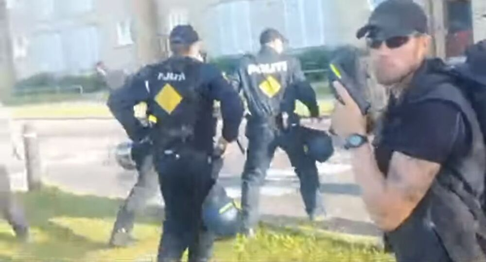 Screenshot from video of attack against Stram Kurs leader Rasmus Paludan