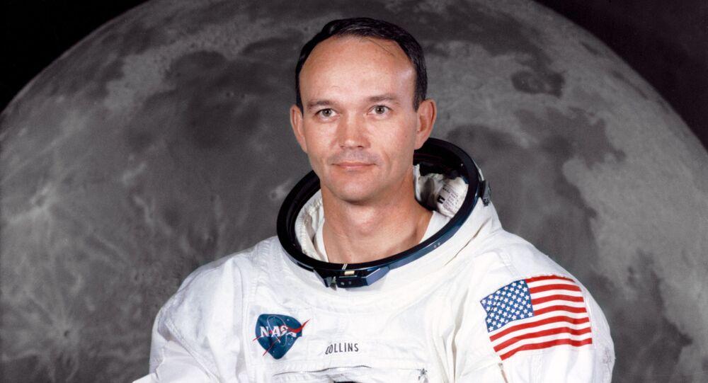 Michael Collins' portrait in a spacesuit