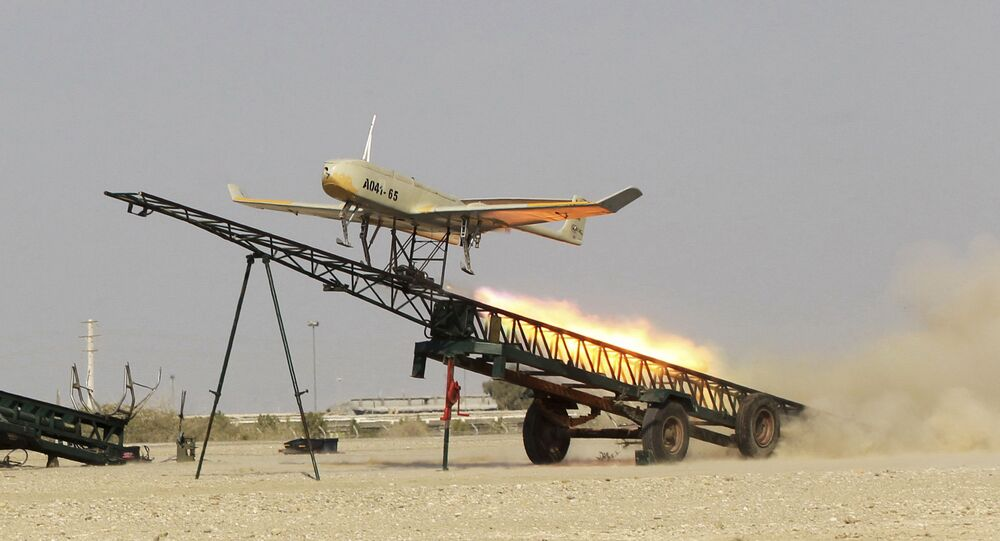 FILE - In this file picture released by Jamejam Online Dec. 25, 2014, an Iranian made drone is launched during a military drill in Jask port, southern Iran