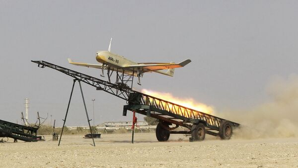 FILE - In this file picture released by Jamejam Online Dec. 25, 2014, an Iranian made drone is launched during a military drill in Jask port, southern Iran - Sputnik International
