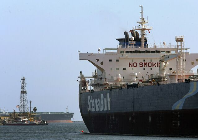 The Stena Bulk oil tanker unloads oil