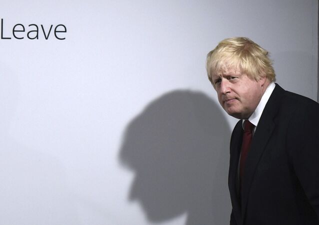 FILE - In this Friday, June 24, 2016 file photo, Vote Leave campaigner Boris Johnson arrives for a press conference at Vote Leave headquarters in London