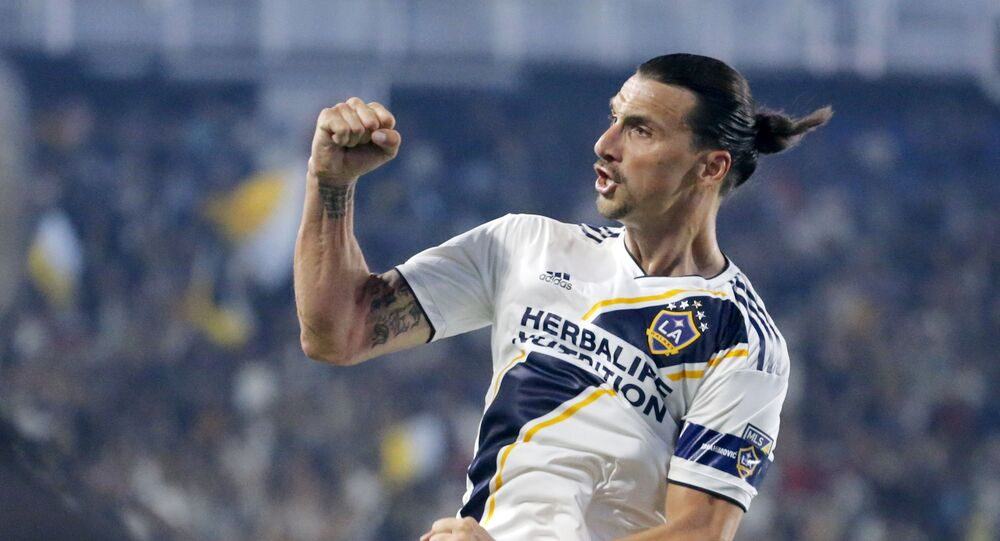 LA Galaxy forward Zlatan Ibrahimovic celebrates his goal during the second half of an MLS soccer match against Toronto FC in Carson, California, 4 July 2019. The Galaxy won 2-0.