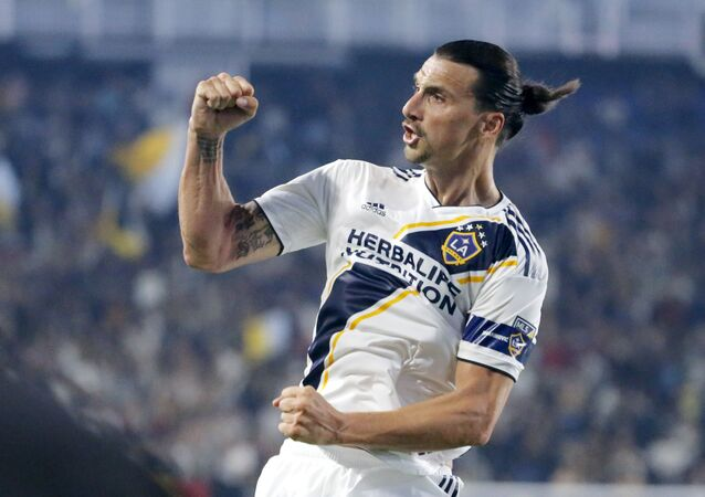 LA Galaxy forward Zlatan Ibrahimovic celebrates his goal during the second half of an MLS soccer match against Toronto FC in Carson, Calif., Thursday, July 4, 2019. The Galaxy won 2-0.
