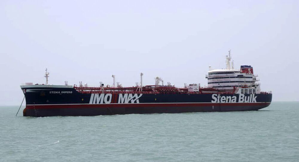 The Stena Impero, a British-flagged oil tanker which was seized by the Iran's Revolutionary Guard on Friday is photographed at the Iranian port of Bandar Abbas, 20 July 2019.