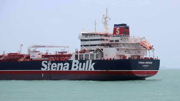 This handout picture released by Tasnim News Agency on July 20, 2019, shows British-flagged tanker Stena Impero anchored in Bandar Abbas in southern Iran - Sputnik International
