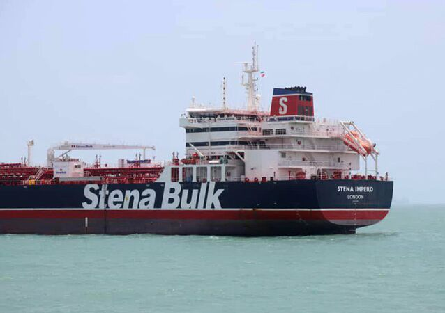 This picture, released by Tasnim News Agency on 20 July 2019, shows the British-flagged tanker Stena Impero anchored at the port city of Bandar Abbas in southern Iran