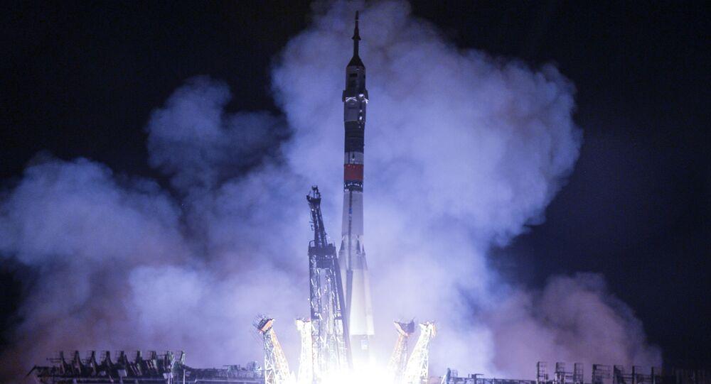 Rocket carrying MS-13 spacecraft launching from the Baikonur cosmodrome in Kazakhstan.