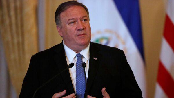 U.S. Secretary of State Mike Pompeo speaks at a joint news conference with President of El Salvador Nayib Bukele at the Presidential House in San Salvador, El Salvador, July 21, 2019 - Sputnik International