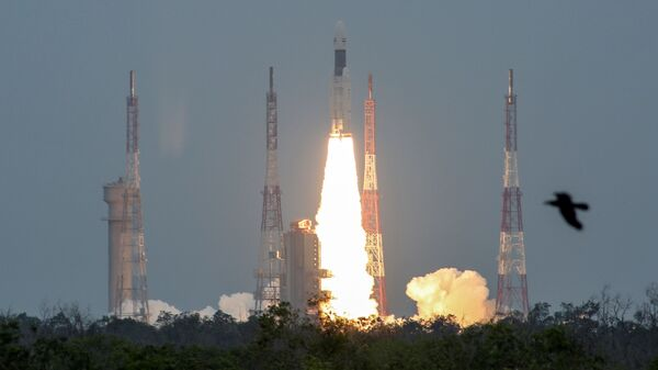 India's Geosynchronous Satellite Launch Vehicle Mk III-M1 blasts off carrying Chandrayaan-2, from the Satish Dhawan Space Centre at Sriharikota, India, July 22, 2019 - Sputnik International