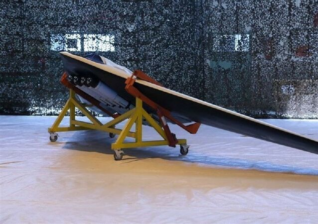 A Saegheh drone which can be equipped with four bombs, in Iran, in this undated handout photo