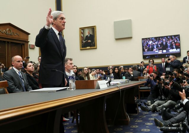 Former Special Counsel Robert Mueller is sworn in to testify before a House Judiciary Committee hearing on the Office of Special Counsel's investigation into Russian Interference in the 2016 Presidential Election on Capitol Hill in Washington, U.S., July 24, 2019