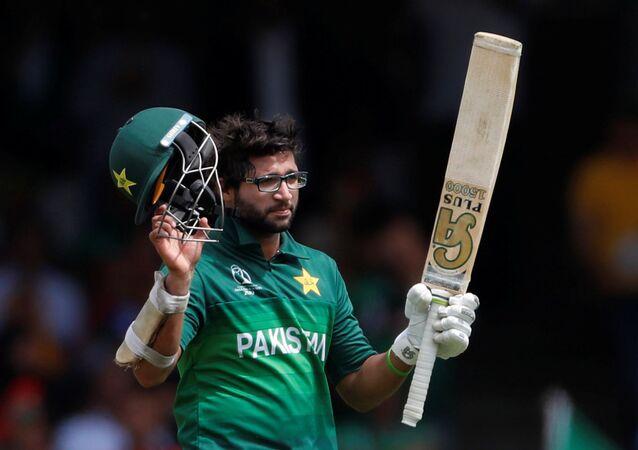Cricket - ICC Cricket World Cup - Pakistan v Bangladesh - Lord's, London, Britain - July 5, 2019   Pakistan's Imam-ul-Haq celebrates his century   Action