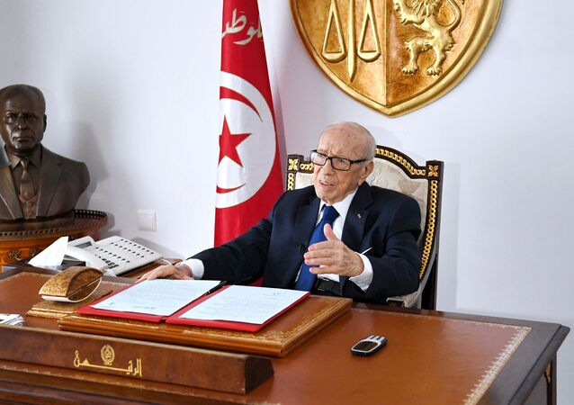 Tunisian President Beji Caid Essebsi sits at his desk at the Carthage Palace, in this handout picture obtained by Reuters on July 5, 2019, in Tunis, Tunisia