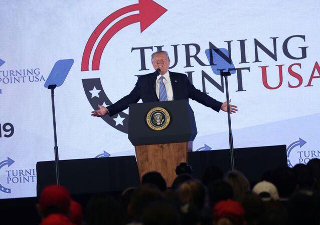 U.S. President Donald Trump addresses Turning Point USA's Teen Student Action Summit in Washington, U.S. July 23, 2019