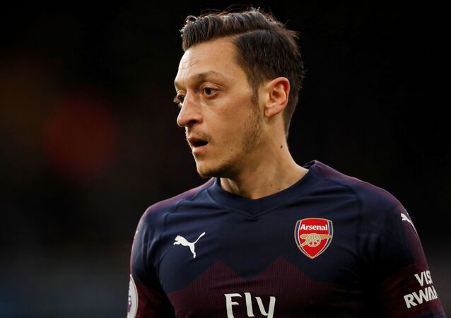 Mesut Ozil during Arsenal - Western Sydney Wanderers game at Molineux Stadium
