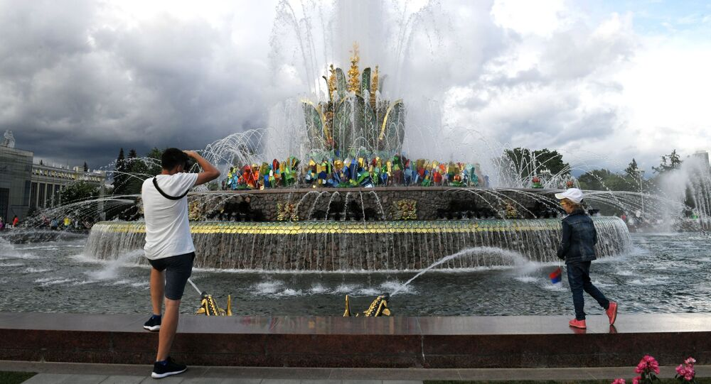 The Stone Flower Fountain at the VDNKH park in Moscow.