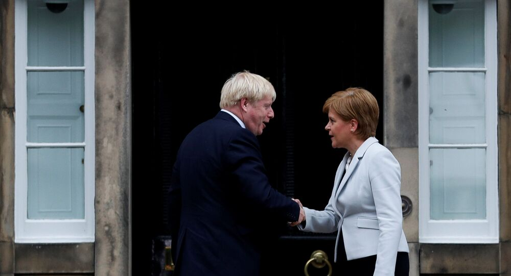 Britain's Prime Minister Boris Johnson shakes hands with Scotland's First Minister Nicola Sturgeon at Bute House in Edinburgh, Scotland, Britain July 29, 2019.