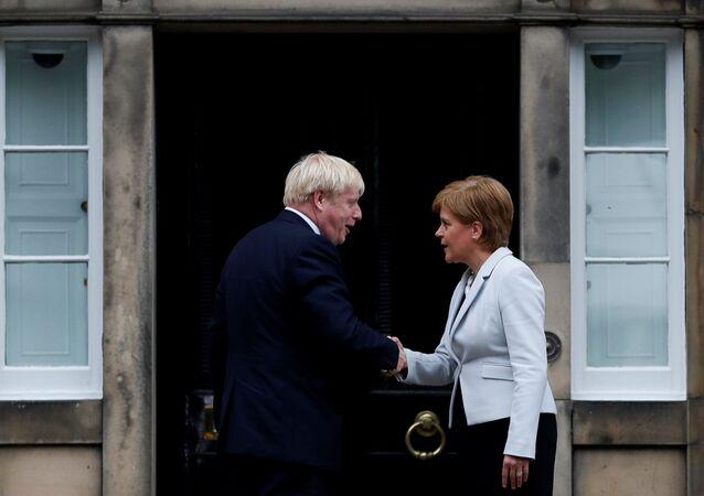 Britain's Prime Minister Boris Johnson shakes hands with Scotland's First Minister Nicola Sturgeon at Bute House in Edinburgh, Scotland, Britain July 29, 2019.