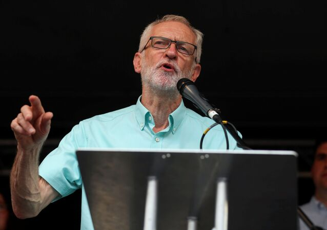 Britain's opposition Labour Party leader Jeremy Corbyn speaks during a rally calling for a general election in London, Britain July 25,2019