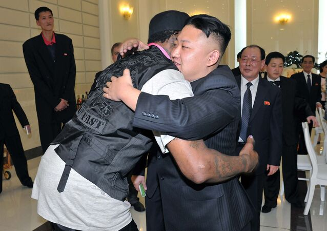 North Korean leader Kim Jong-Un hugging former NBA star Dennis Rodman during a dinner in Pyongyang on 28 February 2013.