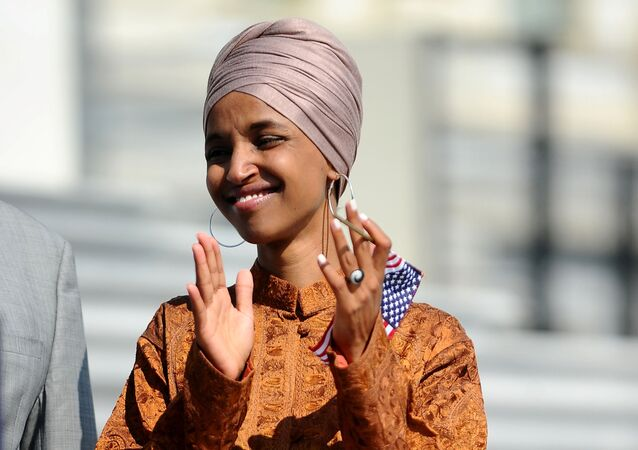 Rep. Ilhan Omar (D-MN) attends a press event on the first 200 days of the 116th Congress at the U.S. Capitol in Washington, U.S., July 25, 2019