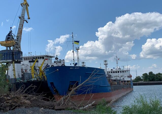 A view shows the Russian tanker, now called Nika Spirit and formerly named Neyma, which was detained by the Ukrainian security services in the port of Izmail, Ukraine in this handout picture obtained by Reuters on July 25, 2019