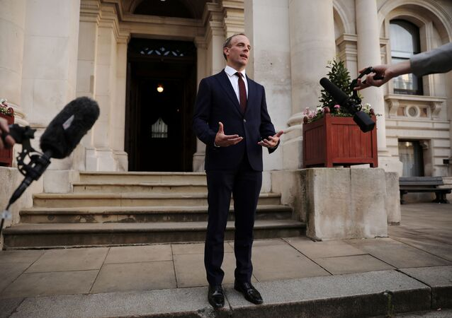 Dominic Raab is seen at the Foreign and Commonwealth building after being appointed as the Foreign Secretary by Britain's new Prime Minister Boris Johnson in London, Britain, July 24, 2019
