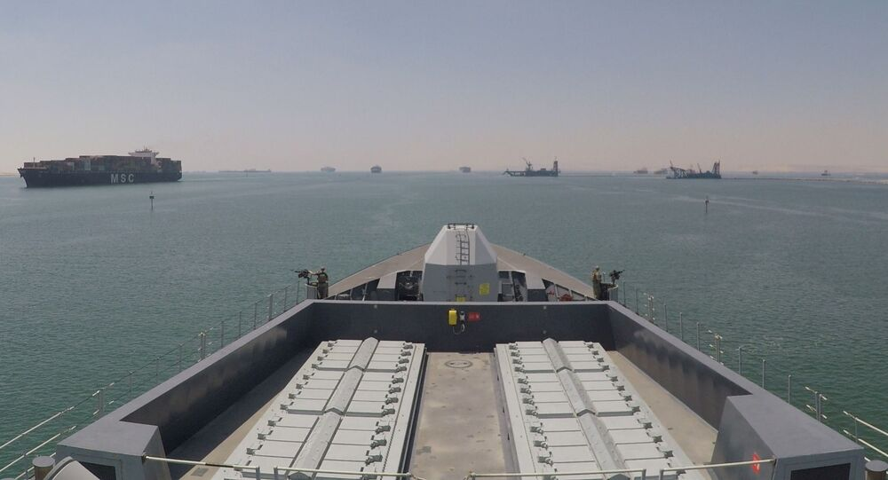 The Royal Navy destroyer HMS Duncan passes through the Suez Canal into the Gulf to support the safe passage of British-flagged ships through the Strait of Hormuz in this handout photo released 28 July 20199