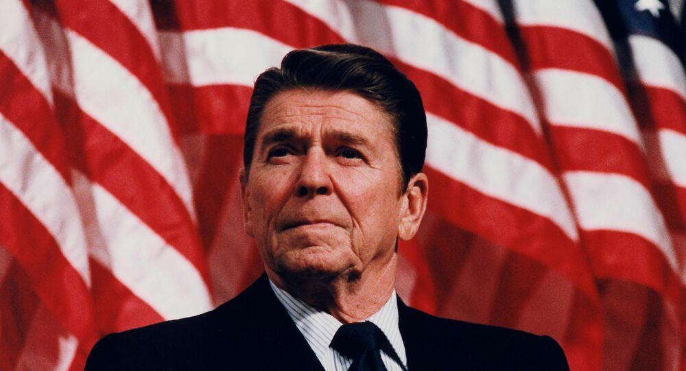 President Ronald Reagan speaking at a Rally for Senator Durenberger in Minneapolis, Minnesota, 1982.