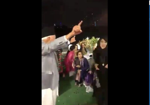 Screenshot of a video showing Kashmiri leader Farooq Abdullah dancing