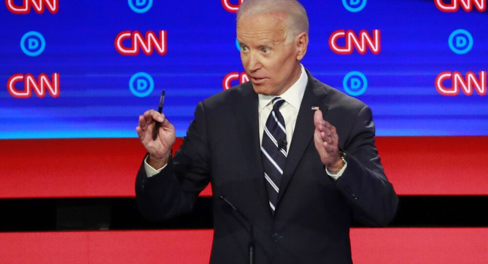 Former Vice President Joe Biden speaks on the second night of the second 2020 Democratic US presidential debate in Detroit, Michigan, 31 July 2019.