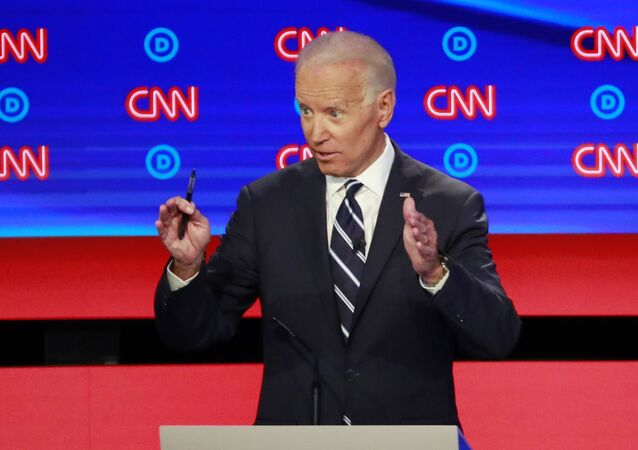Former Vice President Joe Biden speaks on the second night of the second 2020 Democratic US presidential debate in Detroit, Michigan, 31 July 2019.