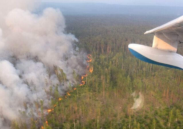 This handout picture taken on July 30, 2019 from onboard a Be-200 firefighting aircraft and provided by the press-service of Russia's Krasnoyarsk Krai's forestry ministry shows a forest fire in the Boguchansky district