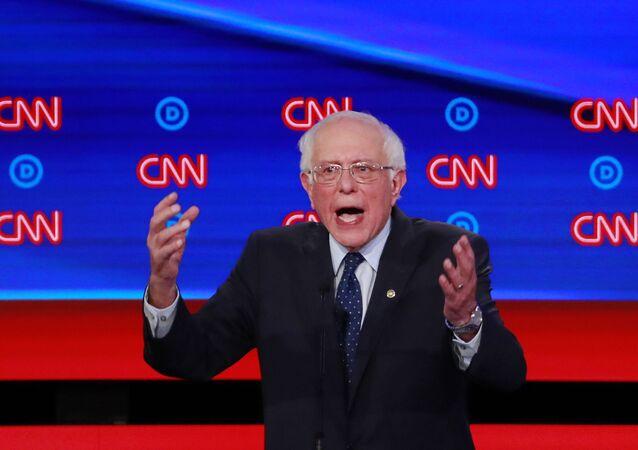 US Senator Bernie Sanders speaks on the first night of the second 2020 Democratic US presidential debate in Detroit, Michigan