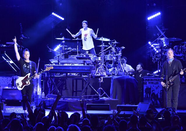 Blink-182 perform during Linkin Park and Friends Celebrate Life in Honor of Chester Bennington at the Hollywood Bowl on Friday, Oct. 27, 2017, in Los Angeles.