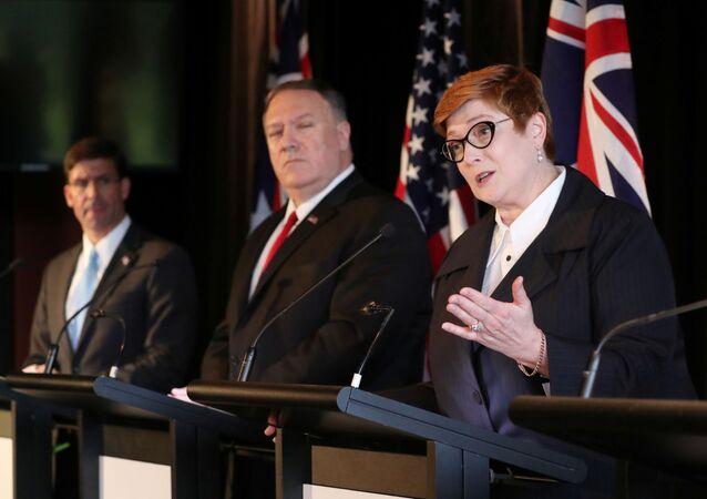 Australia's Foreign Minister Marise Payne speaks during a joint news conference with U.S. Secretary of Defence Mark Esper, U.S. Secretary of State Mike Pompeo and Australia's Defence Minister Linda Reynolds (unseen) in Sydney, Australia, August 4, 2019.