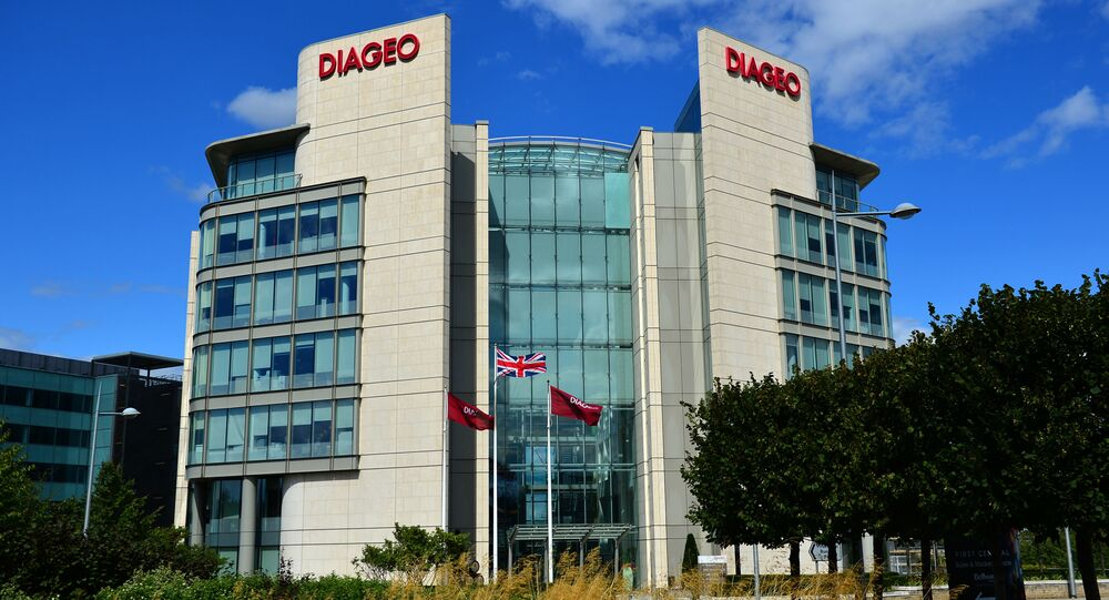 A picture taken on August 22, 2014 shows the exterior of the headquarters of British multinational drinks company, Diageo, in west London