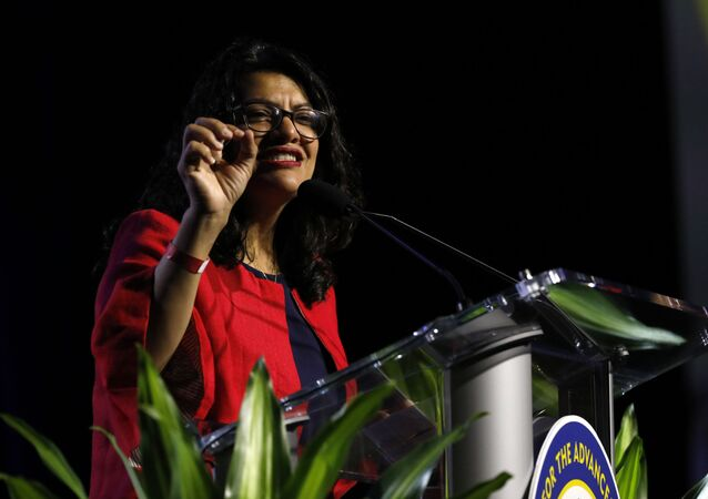 Representative. Rashida Tlaib (D, Michigan) addresses the NAACP's (National Association for the Advancement of Colored People) 110th National Convention at Cobo Center in Detroit, Michigan on July 22, 2019