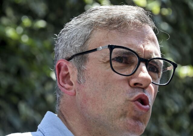 Former Chief Minister of Jammu and Kashmir Omar Abdullah speaks during a press confrence in Srinagar on August 3, 2019.
