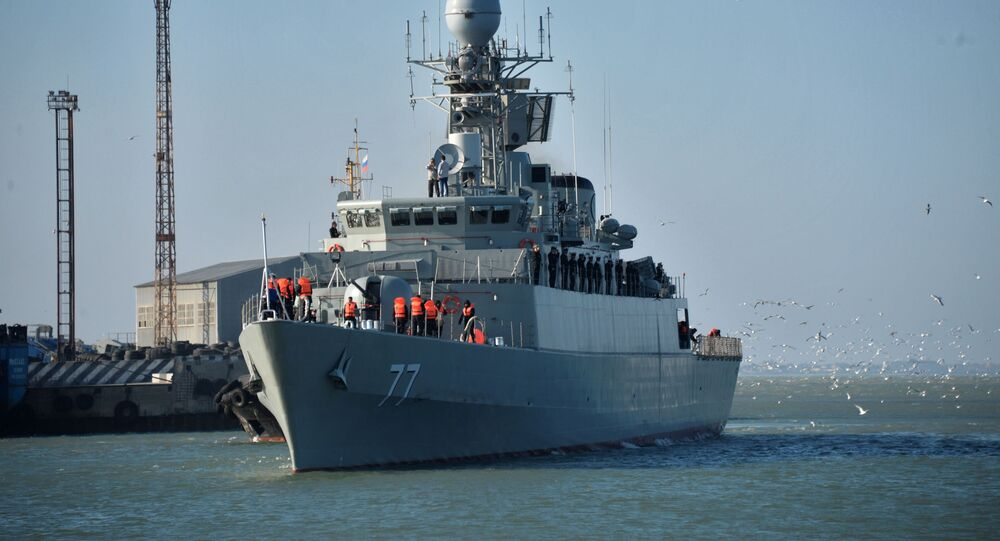 Iran's Damavand destroyer during a visit to Makhachkala, in Dagestan, south-west Russia. File photo.
