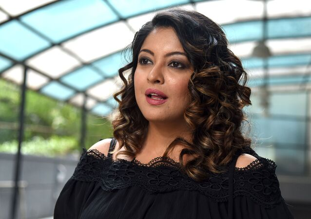 Indian Bollywood actress Tanushree Dutta talks during an interview with an Indian media outlet in Mumbai on October 12, 2018